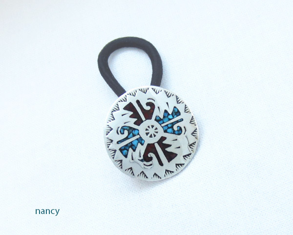 Turquoise Coral Inlay & Sterling Silver Pony Tail Holder Navajo - 5070rb