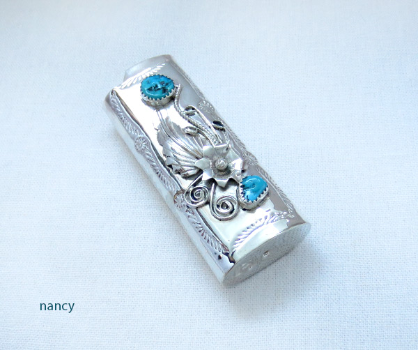 Turquoise & Sterling Silver Lighter Case Native American Made - 5072rb