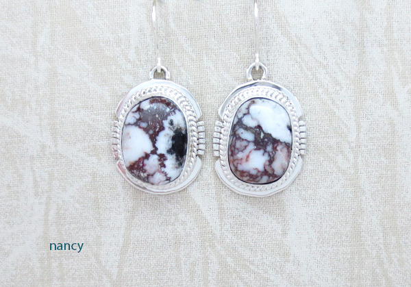 Image 0 of    Wild Horse Stone & Sterling Silver Earring Navajo Jewelry - 5075sn