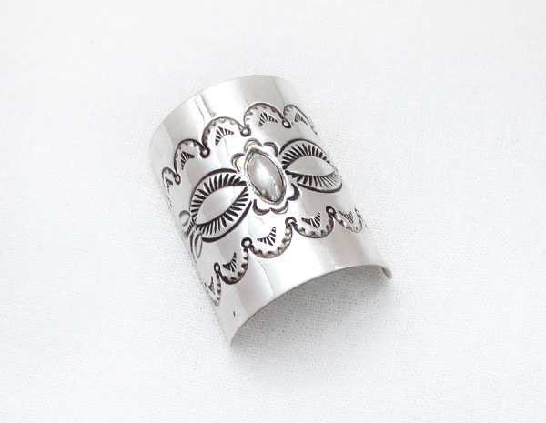 Sterling Silver Stamped Pony Tail Holder / Cover Native American - 5120rb
