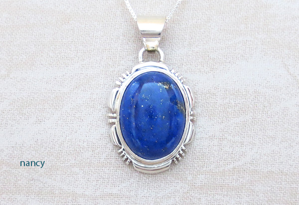 Image 0 of         Small Lapis & Sterling Silver Pendant w/Chain Navajo Jewelry - 5124rio