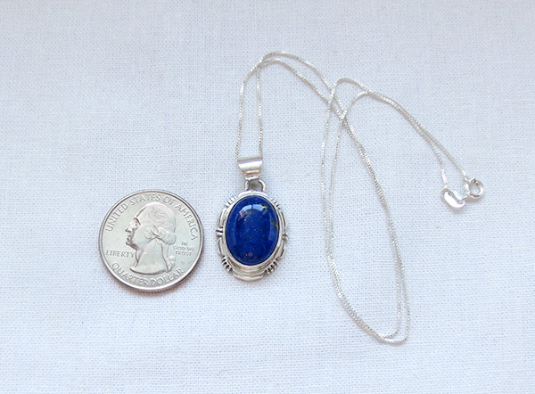 Image 1 of         Small Lapis & Sterling Silver Pendant w/Chain Navajo Jewelry - 5124rio