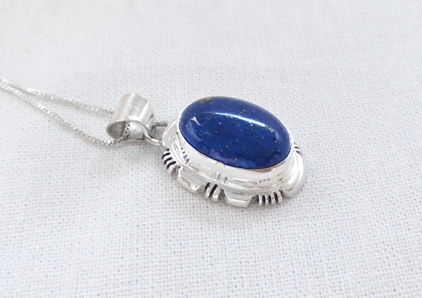 Image 2 of         Small Lapis & Sterling Silver Pendant w/Chain Navajo Jewelry - 5124rio
