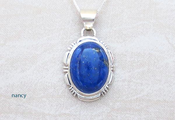 Small Lapis & Sterling Silver Pendant w/Chain Navajo Jewelry - 5124rio