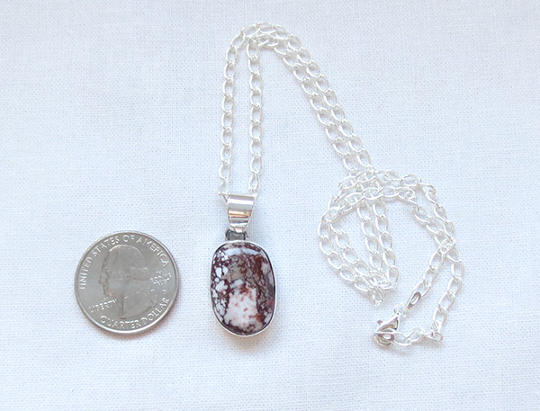 Image 1 of     Wild Horse Stone & Sterling Silver Pendant W/Chain Navajo Jewelry - 5123sn