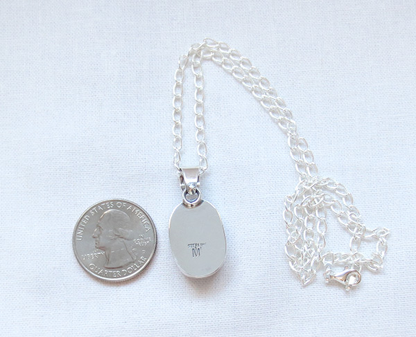 Image 3 of     Wild Horse Stone & Sterling Silver Pendant W/Chain Navajo Jewelry - 5123sn