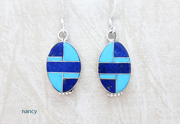 Lapis Turquoise Inlay Sterling Silver Earrings Native American Jewelry - 5079sn