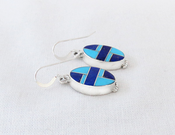 Image 1 of Lapis Turquoise Inlay Sterling Silver Earrings Native American Jewelry - 5079sn