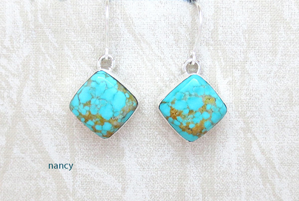 Image 0 of     Turquoise & Sterling Silver Earrings Native American Jewelry - 5082sn
