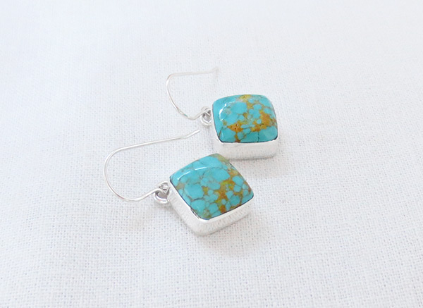 Image 1 of     Turquoise & Sterling Silver Earrings Native American Jewelry - 5082sn