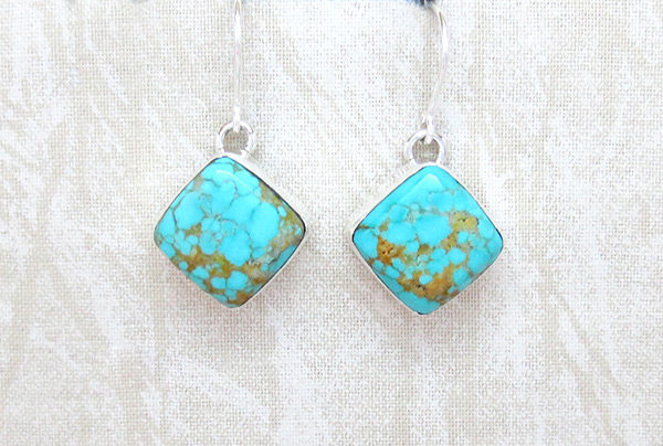 Turquoise & Sterling Silver Earrings Native American Jewelry - 5082sn