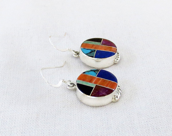 Image 1 of      Lapis Turquoise Spiny Oyster Inlay & Sterling Silver Earrings - 5126sn