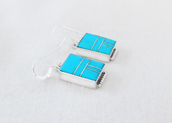 Image 1 of     Turquoise Inlay Sterling Silver Earrings Native American Jewelry - 5218sn