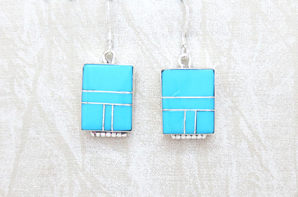 Turquoise Inlay Sterling Silver Earrings Native American Jewelry - 5218sn