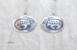 Sterling Silver Bear Earrings Navajo Jewelry - 5381sn