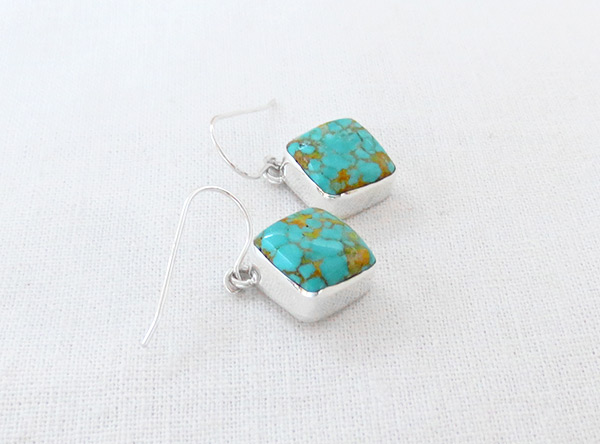 Image 1 of   Turquoise & Sterling Silver Earrings Native American Jewelry - 5380sn