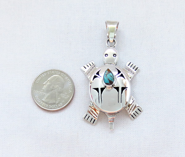 Image 1 of Turquoise & Sterling Silver Turtle Pendant Bennie Ration Navajo - 5384sn
