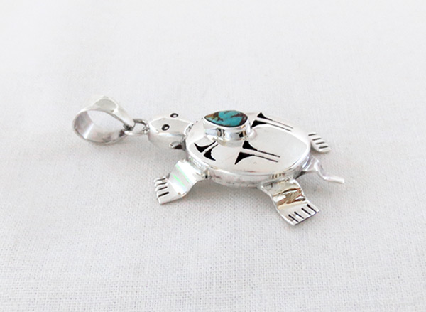 Image 2 of Turquoise & Sterling Silver Turtle Pendant Bennie Ration Navajo - 5384sn