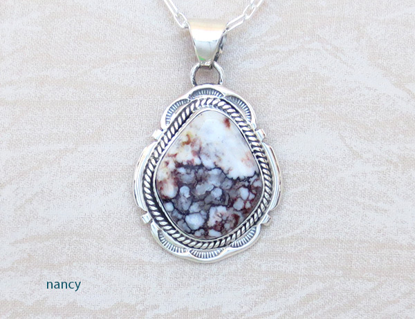 Image 0 of     Large Wild Horse Stone & Sterling Silver Pendant Navajo Jewelry - 5219sn