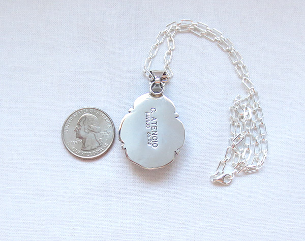 Image 3 of     Large Wild Horse Stone & Sterling Silver Pendant Navajo Jewelry - 5219sn