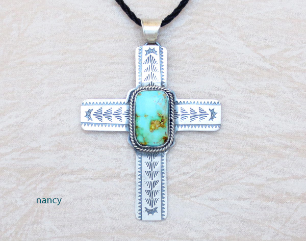 Big Turquoise & Sterling Silver Cross Pendant Navajo Jewelry - 5382sn