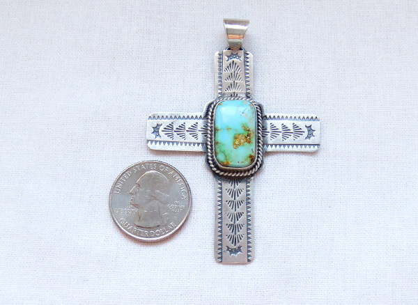Image 1 of    Big Turquoise & Sterling Silver Cross Pendant Navajo Jewelry - 5382sn