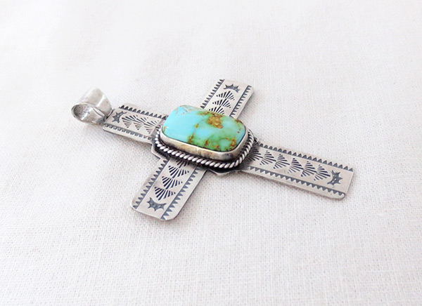 Image 2 of    Big Turquoise & Sterling Silver Cross Pendant Navajo Jewelry - 5382sn