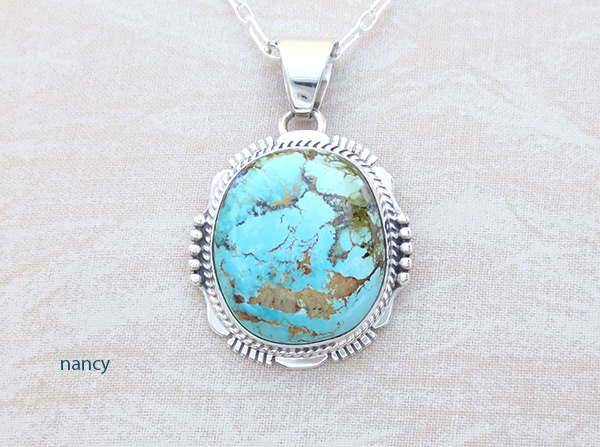 Turquoise & Sterling Silver Pendant W/Chain Navajo Jewelry - 5118sn