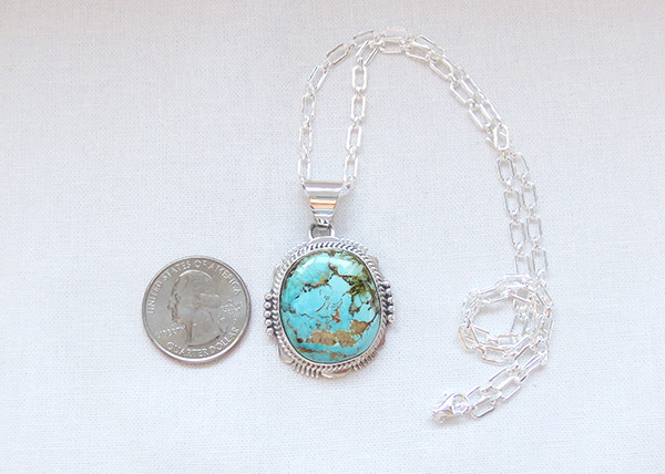 Image 1 of    Turquoise & Sterling Silver Pendant W/Chain Navajo Jewelry - 5118sn