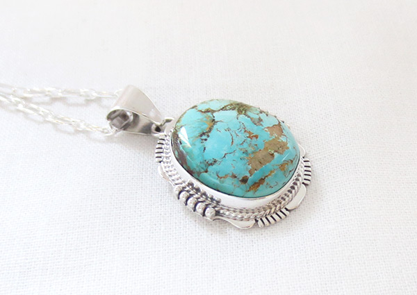 Image 2 of    Turquoise & Sterling Silver Pendant W/Chain Navajo Jewelry - 5118sn