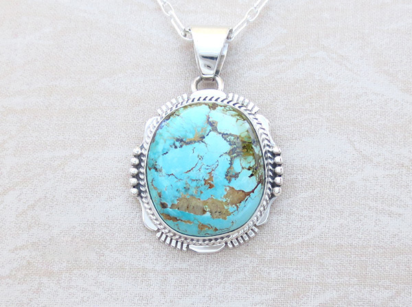 Image 0 of   Turquoise & Sterling Silver Pendant W/Chain Navajo Jewelry - 5118sn