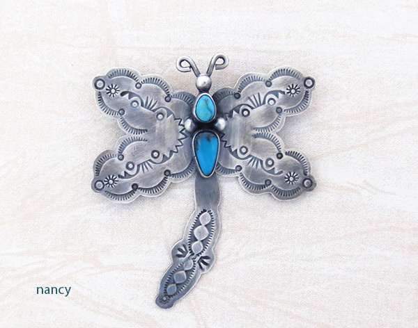 Image 0 of    Turquoise & Sterling Silver Dragfonfly Pin Navajo Jewelry- 5081sw