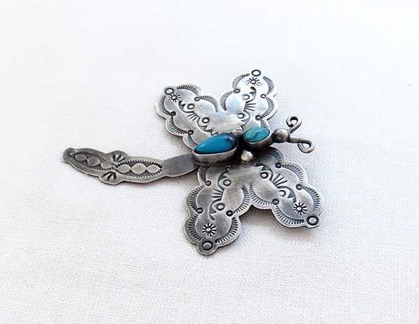 Image 2 of    Turquoise & Sterling Silver Dragfonfly Pin Navajo Jewelry- 5081sw