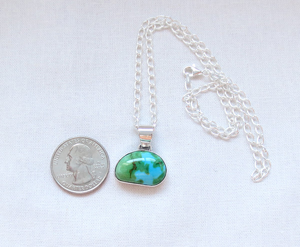 Image 1 of     Turquoise & Sterling Silver Pendant W/Chain Navajo Jewelry - 5084sn