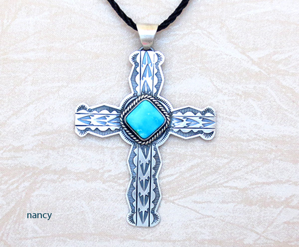 Turquoise & Sterling Silver Cross Pendant Navajo Jewelry - 5085sn