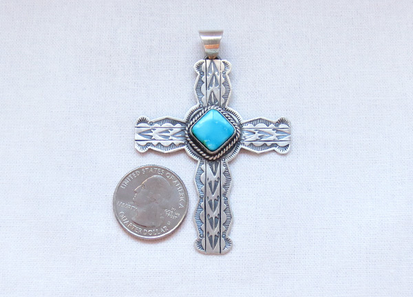 Image 1 of      Turquoise & Sterling Silver Cross Pendant Navajo Jewelry - 5085sn