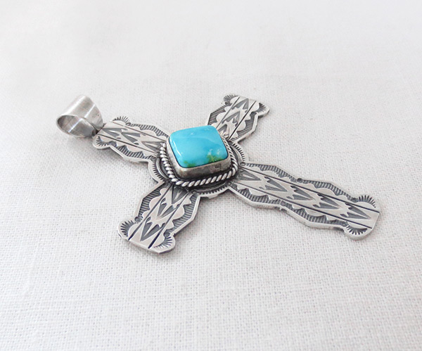 Image 2 of      Turquoise & Sterling Silver Cross Pendant Navajo Jewelry - 5085sn