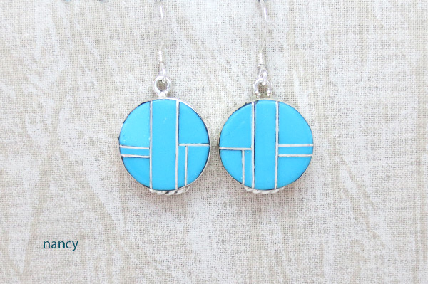 Image 0 of Turquoise Inlay Sterling Silver Earrings Native American Jewelry - 5387sn