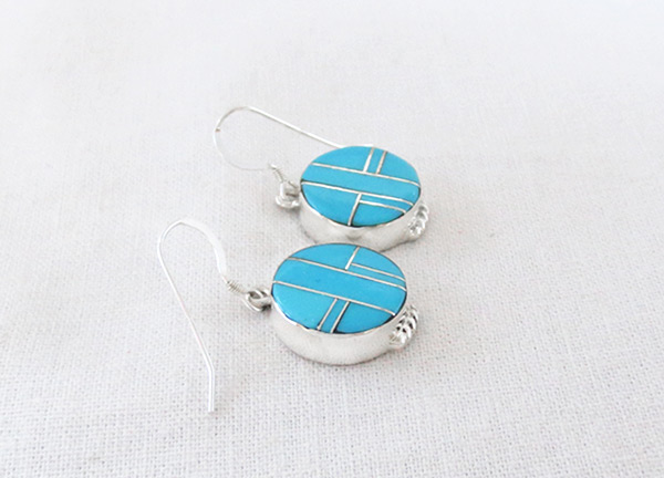 Image 1 of Turquoise Inlay Sterling Silver Earrings Native American Jewelry - 5387sn