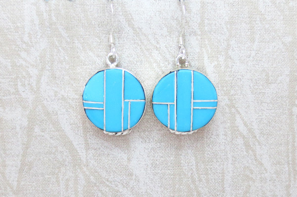 Turquoise Inlay Sterling Silver Earrings Native American Jewelry - 5387sn