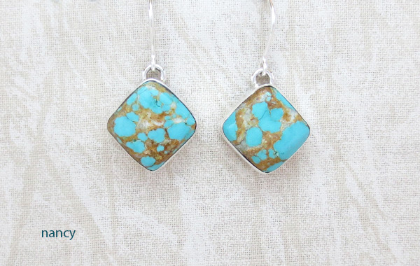 Number 8 Mine Turquoise & Sterling Silver Earrings Navajo Jewelry - 5235sn