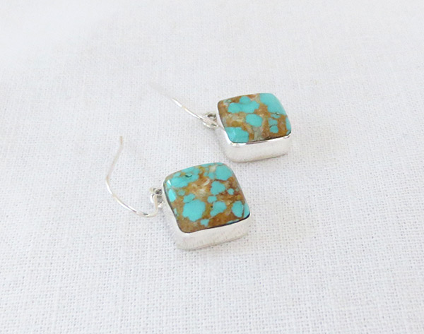 Image 1 of Number 8 Mine Turquoise & Sterling Silver Earrings Navajo Jewelry - 5235sn