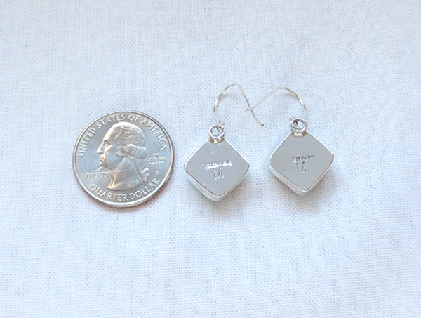 Image 2 of Number 8 Mine Turquoise & Sterling Silver Earrings Navajo Jewelry - 5235sn