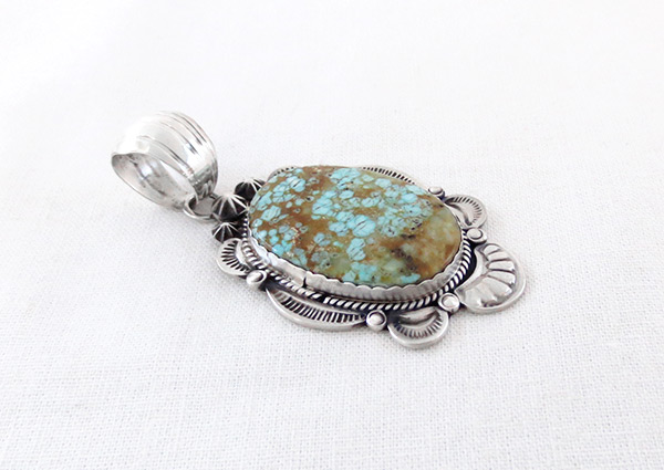 Image 2 of Big Navajo Jewelry #8 Mine Turquoise & Sterling Silver Pendant - 4502dt