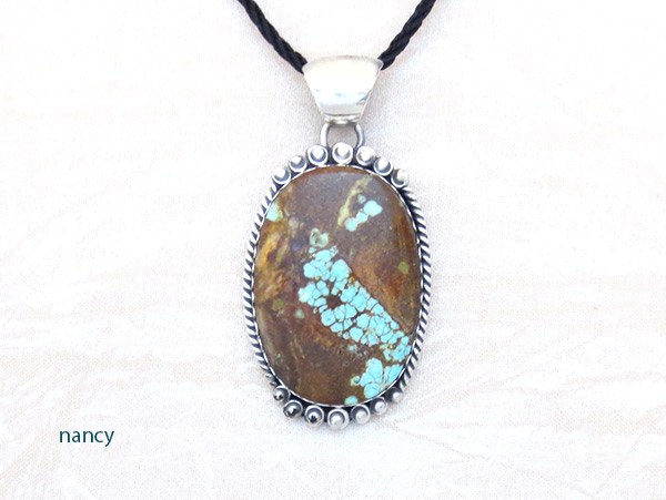 Navajo Jewelry #8 Mine Turquoise & Sterling Silver Pendant - 4595dt
