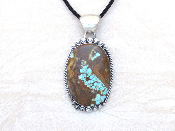Image 0 of     Navajo Jewelry #8 Mine Turquoise & Sterling Silver Pendant - 4595dt