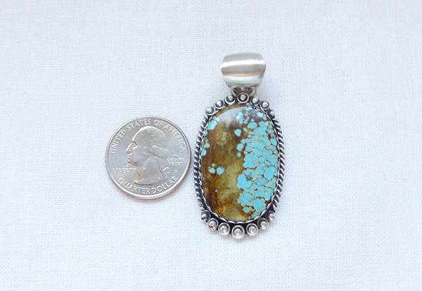 Image 1 of   Navajo Jewelry #8 Mine Turquoise & Sterling Silver Pendant - 4506dt