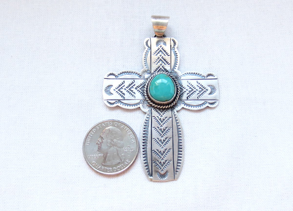 Image 1 of     Turquoise & Sterling Silver Cross Pendant Navajo Jewelry - 4508sn