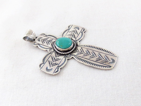 Image 2 of     Turquoise & Sterling Silver Cross Pendant Navajo Jewelry - 4508sn