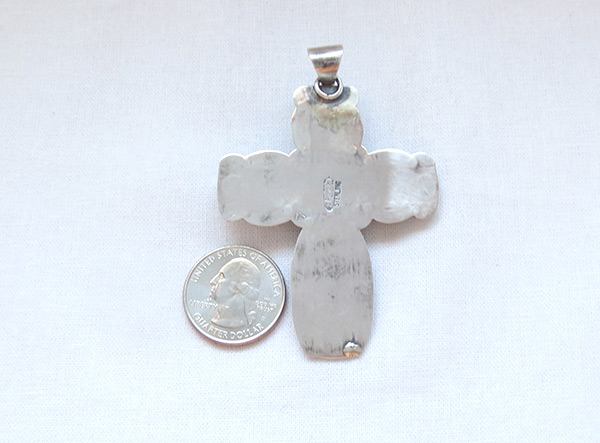 Image 3 of     Turquoise & Sterling Silver Cross Pendant Navajo Jewelry - 4508sn